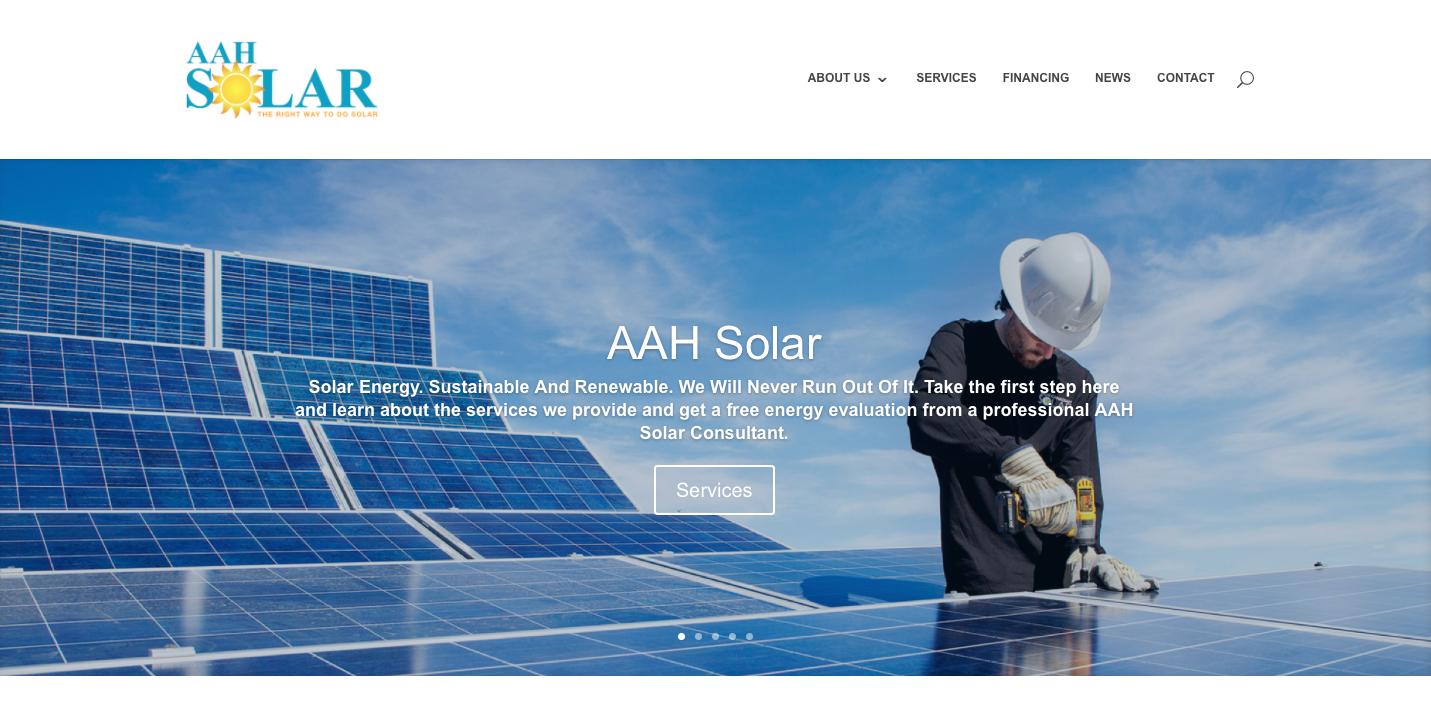 website redesign, web design, aah solar, ejstudios
