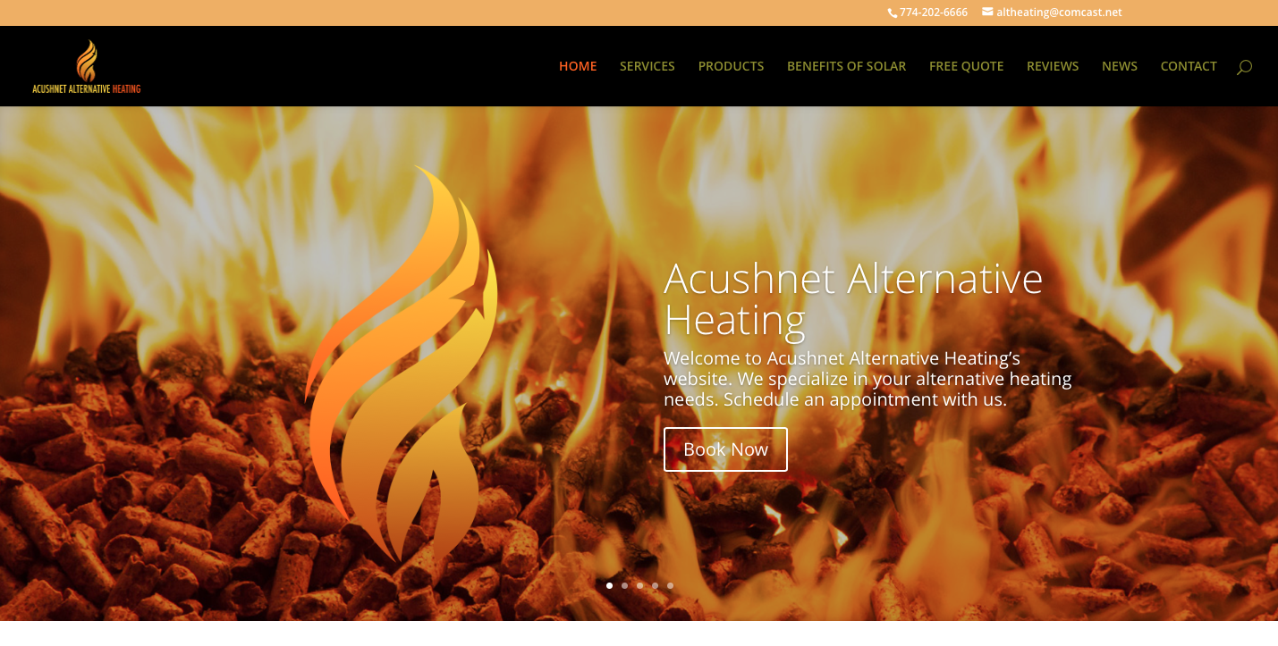 website redesign, webdesign, acushnet heating, ejstudios