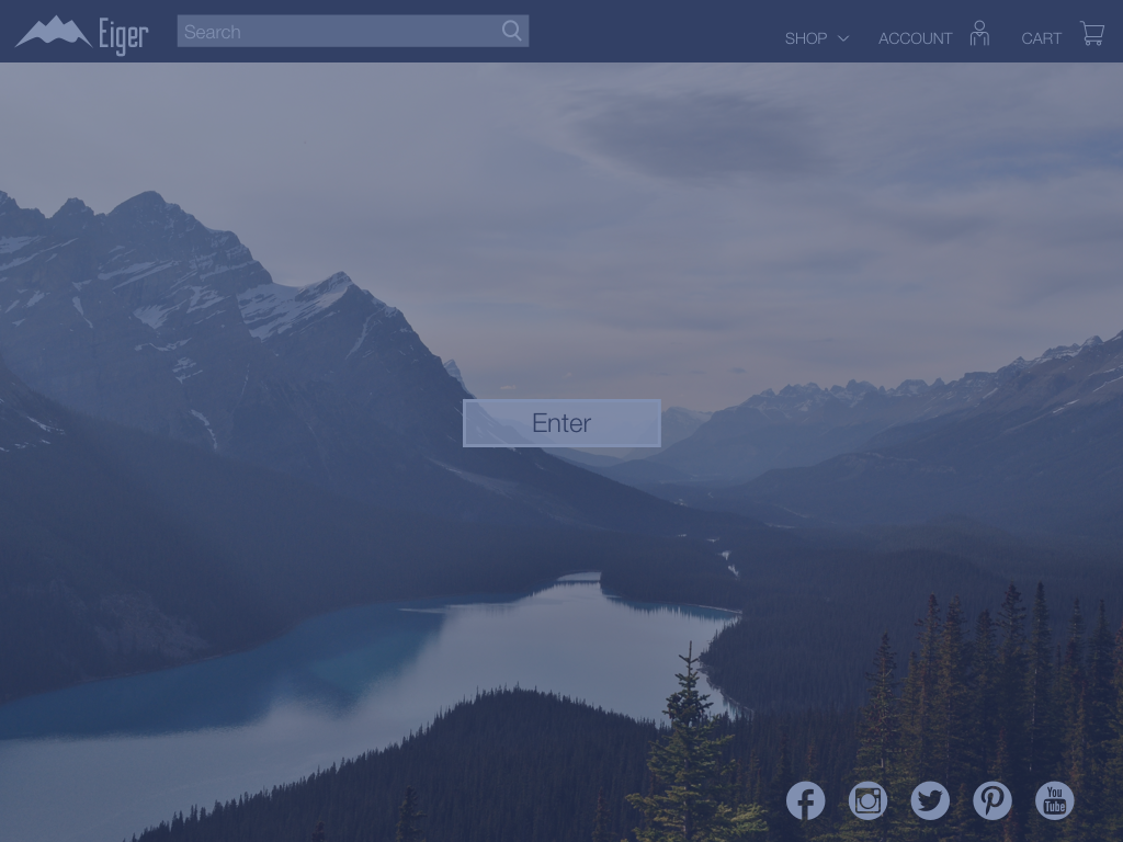 ejstudios, UI design, visual design for eiger brand website, tablet version landscape view